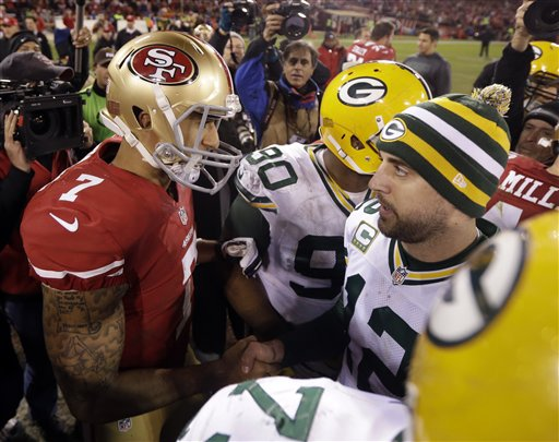 There is no love lost between the oft-opposing Rodgers and Kaepernick.