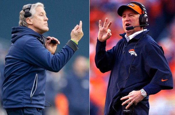 Pete Carroll and John Fox will test their contrasting coaching styles Sunday.
